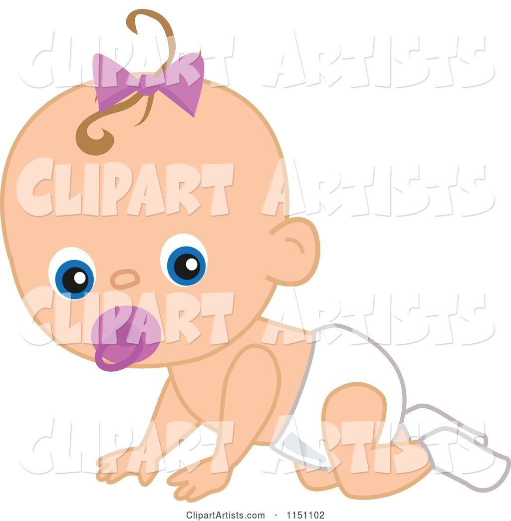 Cute Crawling Baby Girl with a Pacifier