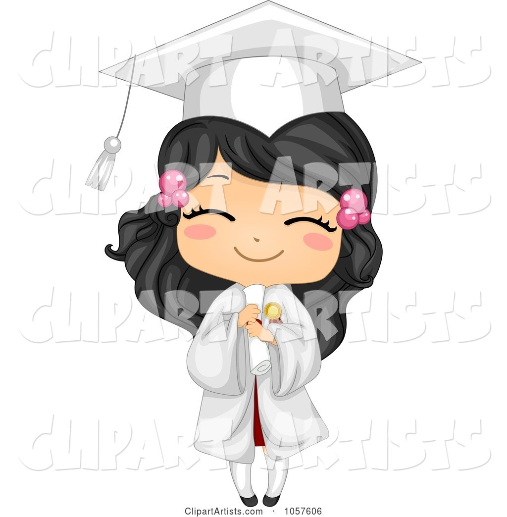 Cute Graduate Girl Holding Her Diploma and Smiling