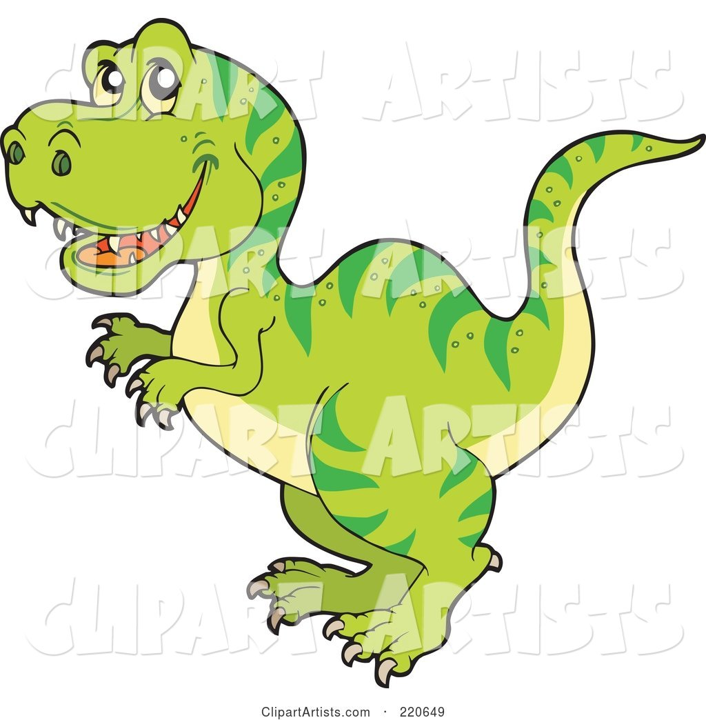 Cute Green Tyrannosaurus Rex Dino with Green Stripes