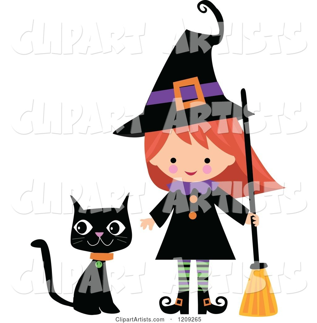 Cute Halloween Witch with a Broom and Black Cat