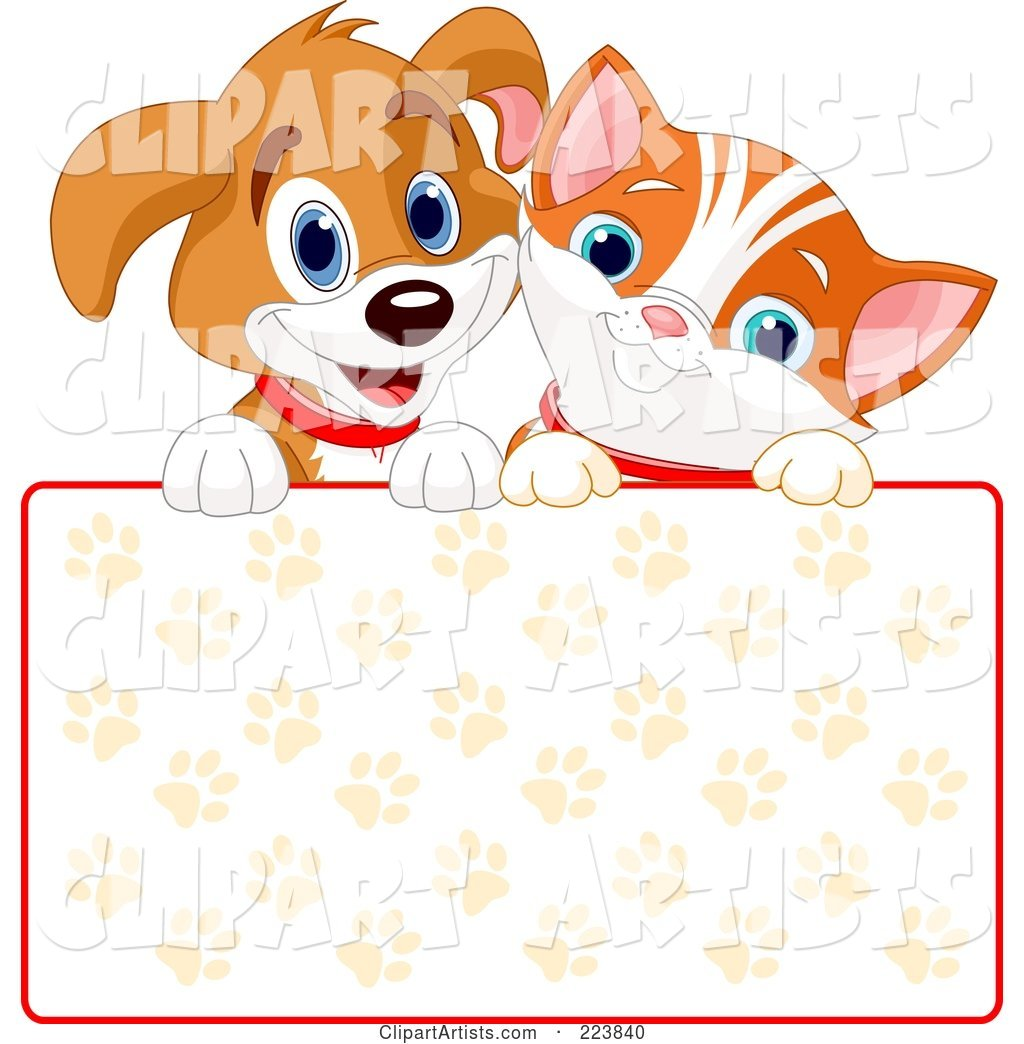 Cute Puppy and Orange Kitten Smiling over a Paw Print Sign