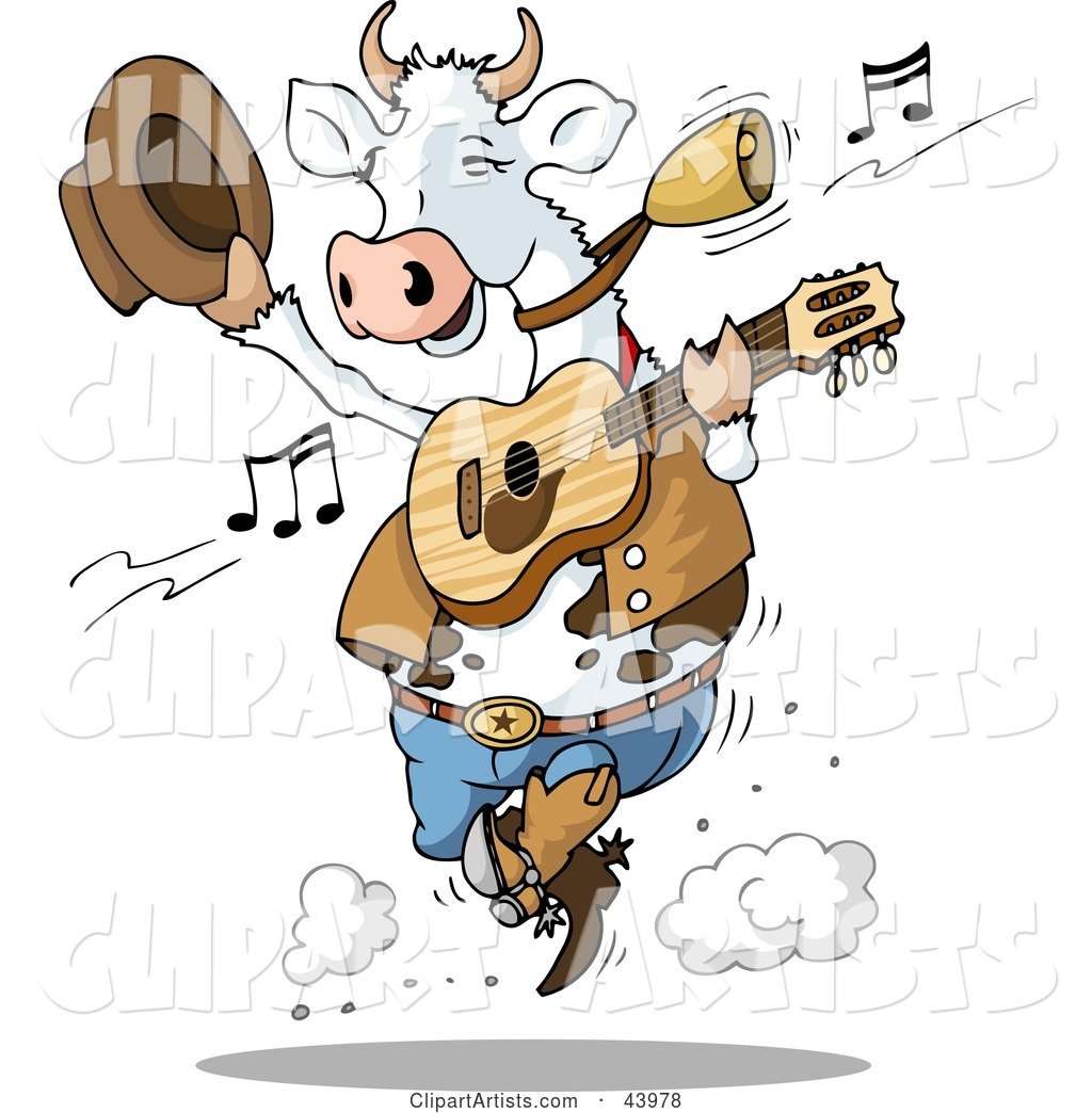 Dancing Cow Playing Country Music with a Guitar