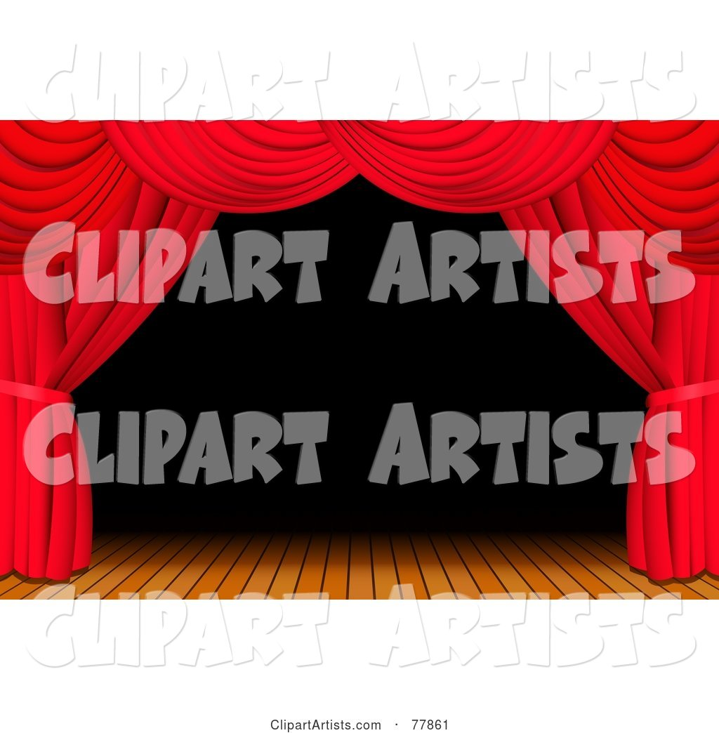 Dark and Deserted Wooden Stage Framed with Red Theatre Curtains