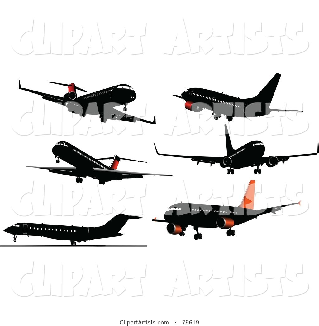 Digital Collage of 6 Airplanes