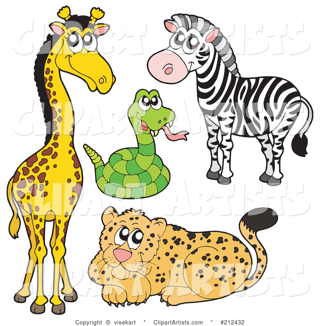 Digital Collage of a Cute Giraffe, Snake, Zebra and Leopard