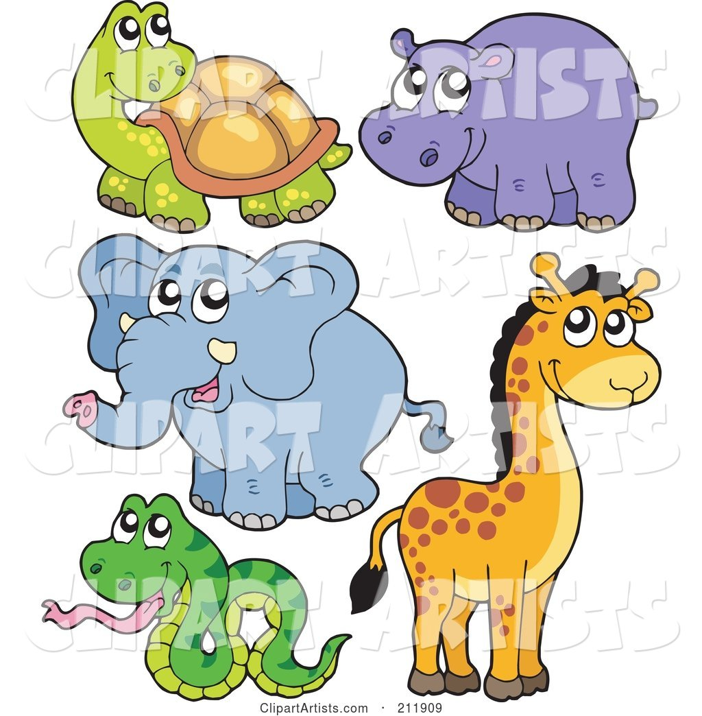 Digital Collage of a Cute Tortoise, Hippo, Elephant, Giraffe and Snake