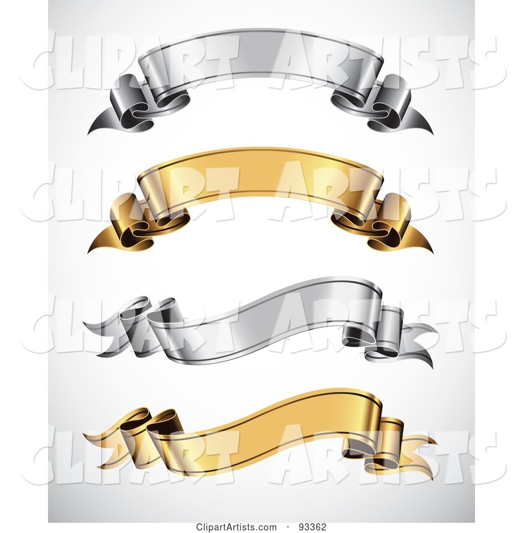 Digital Collage of Arched and Wavy Gold and Silver Blank Ribbon Banners