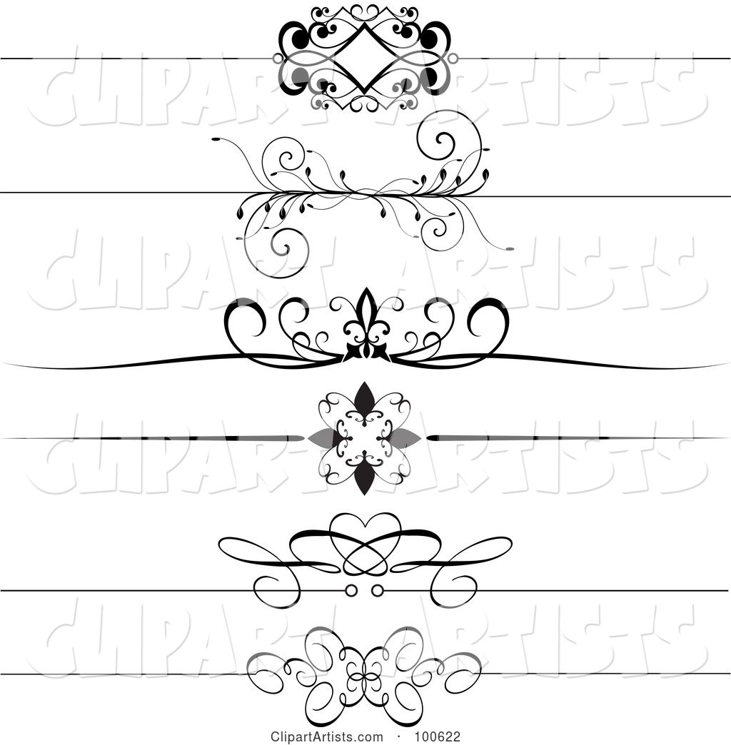 Digital Collage of Black and White Decorative Header Rules