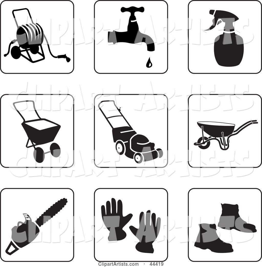 Digital Collage of Black and White Gardening Icons