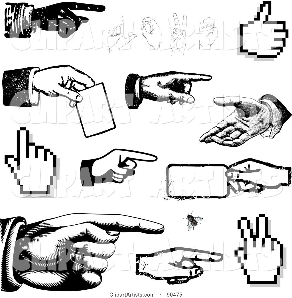Digital Collage of Black and White Hands Pointing, Holding and Gesturing