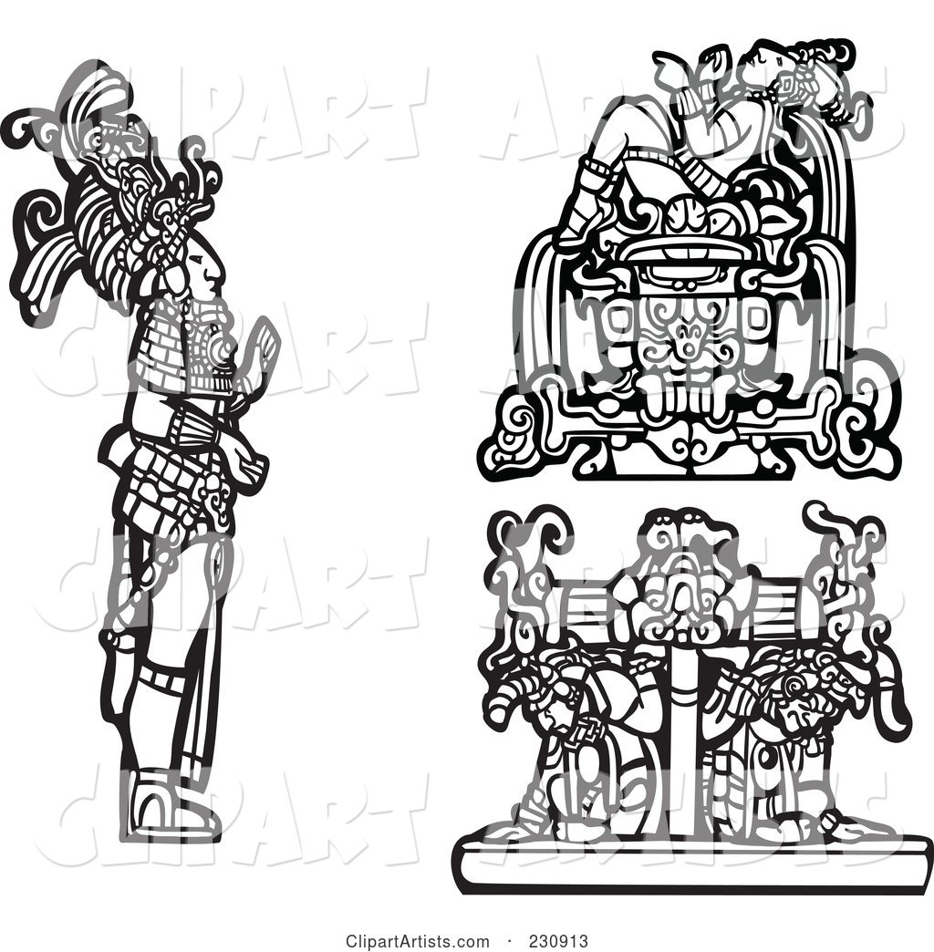 Digital Collage of Black and White Mayan Kings and Slaves