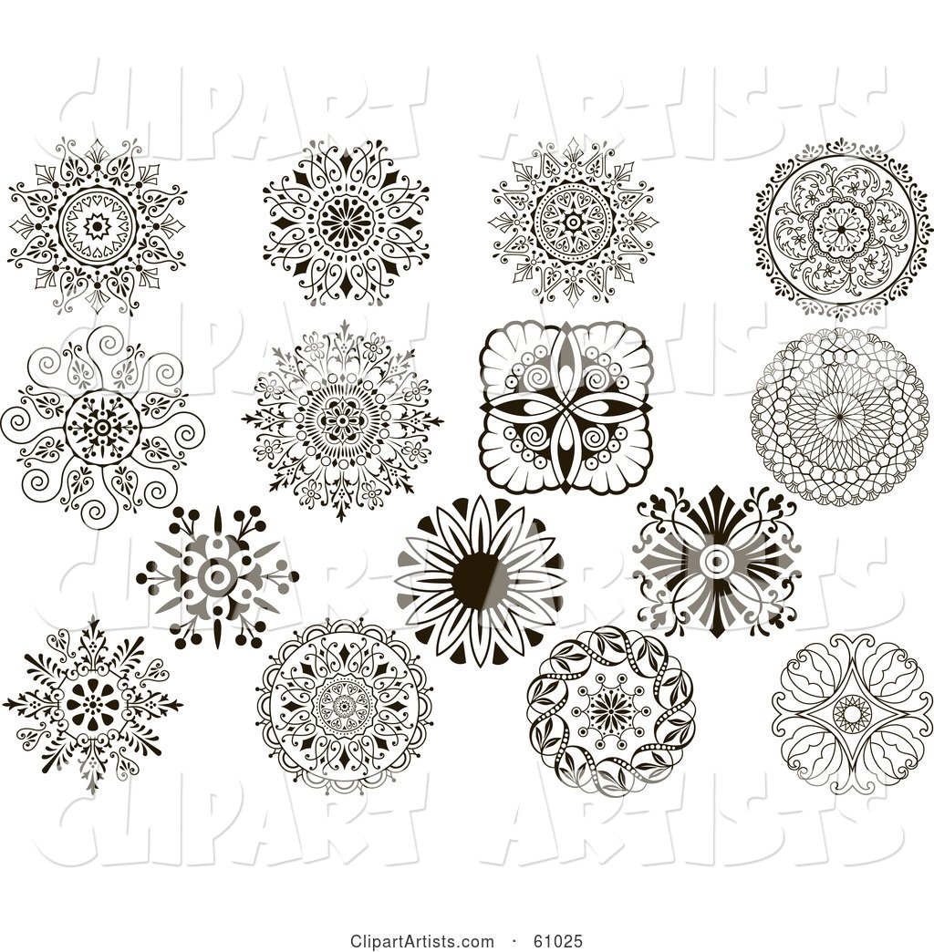 Digital Collage of Black and White Ornate Medallion Designs