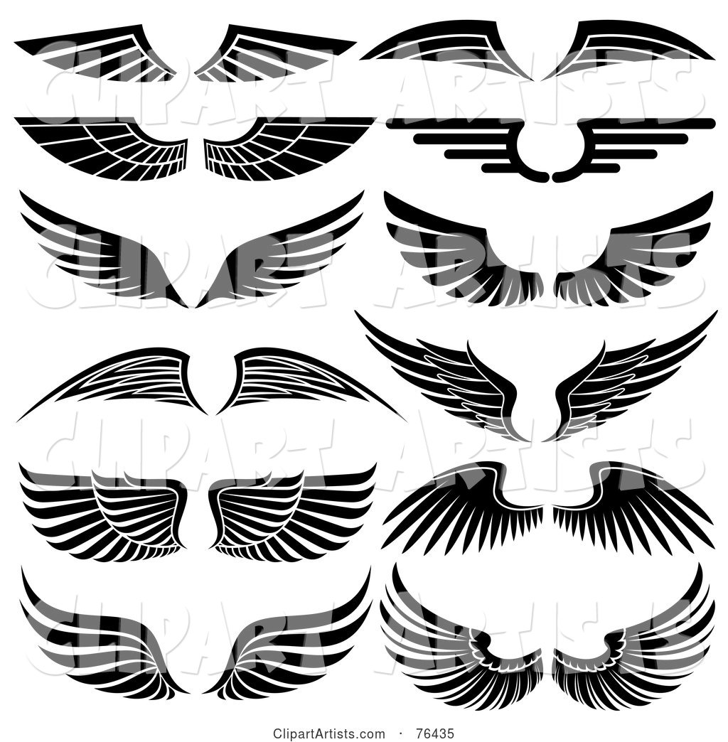 Digital Collage of Black and White Wing Logo Icons