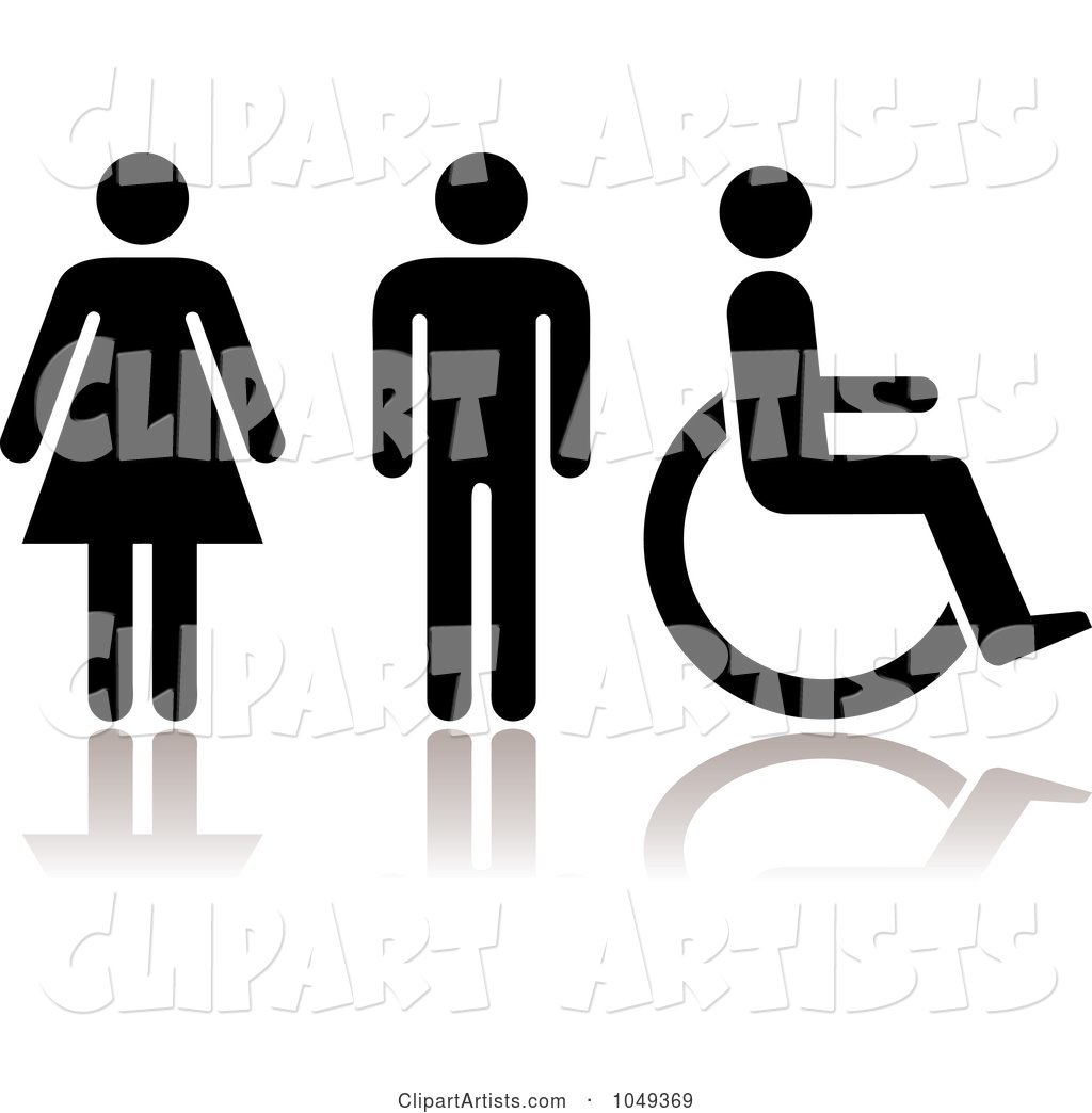 Digital Collage of Black Women, Men and Handicap Restroom Symbols with Reflections