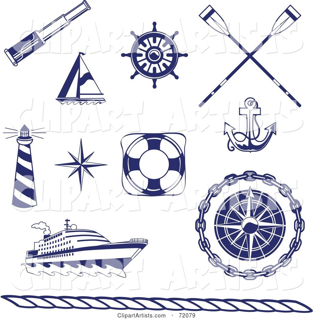 Digital Collage of Blue and White Nautical Icons