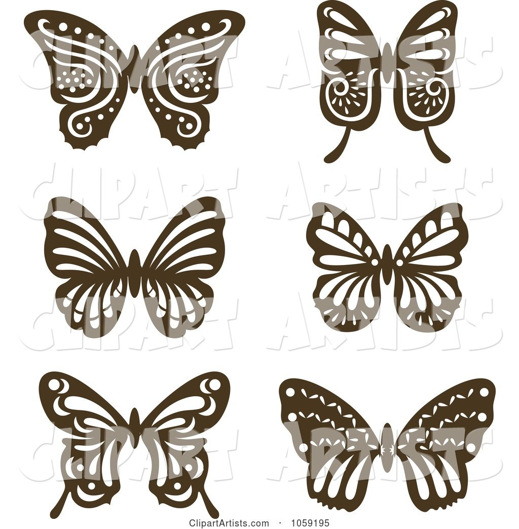 Digital Collage of Brown Vintage Butterflies