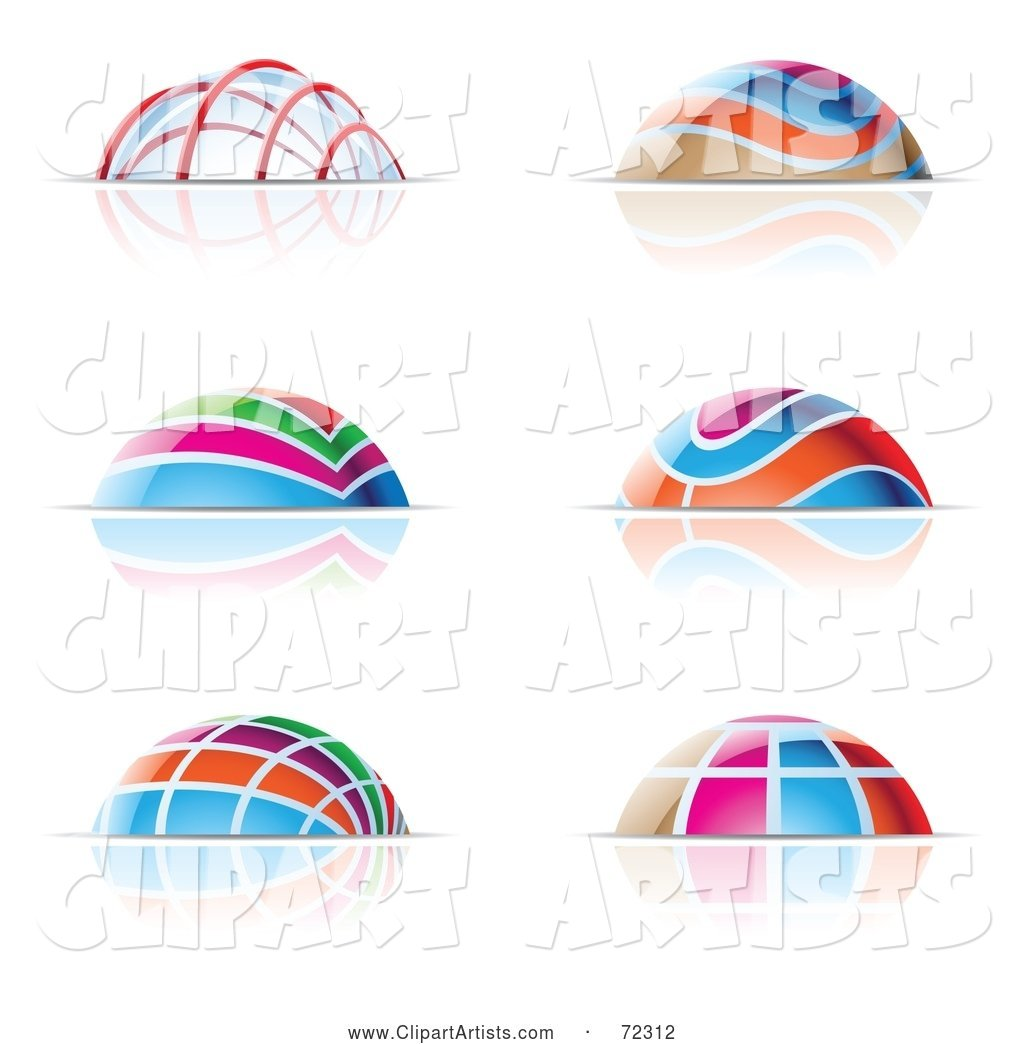 Digital Collage of Colorful Dome Icons