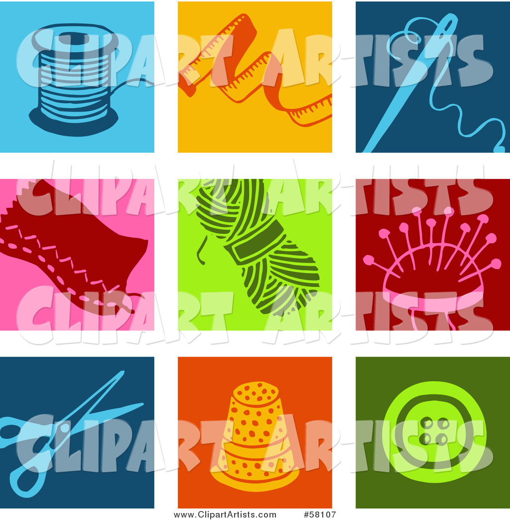 Digital Collage of Colorful Thread, Tape Measure, Needle, Patch, Yarn, Scissors, Thimble and Button Icons