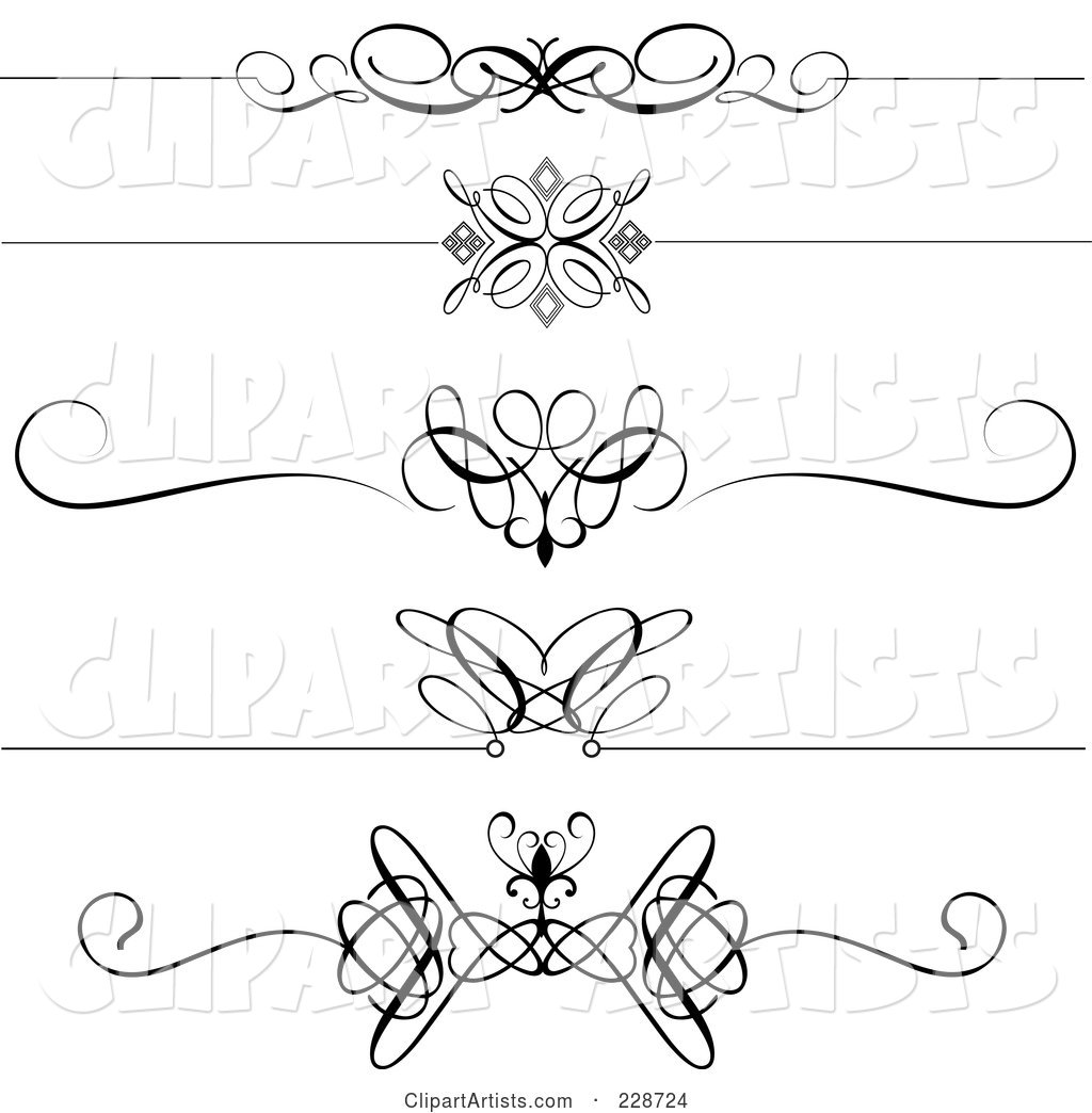 Digital Collage of Decorative Black and White Page Dividers
