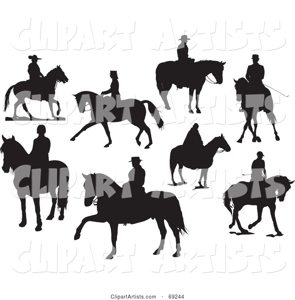 Digital Collage of Eight Silhouettes of People on Horses