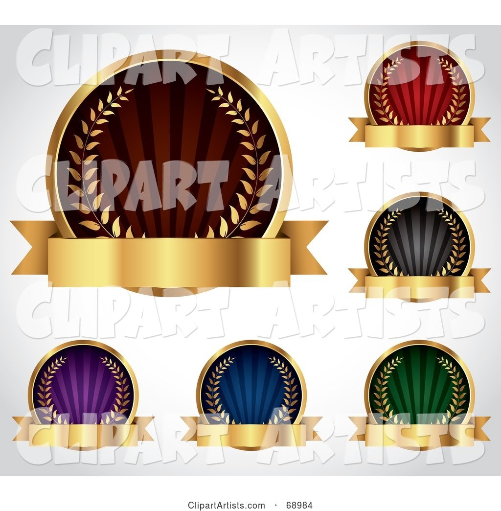 Digital Collage of Five Colorful Round Laurel Logos with Blank Gold Banners