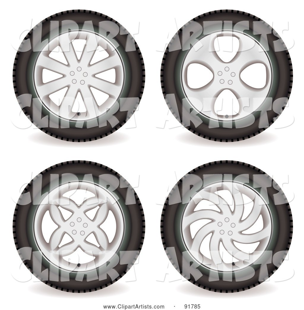 Digital Collage of Four Automotive Rims and Wheels