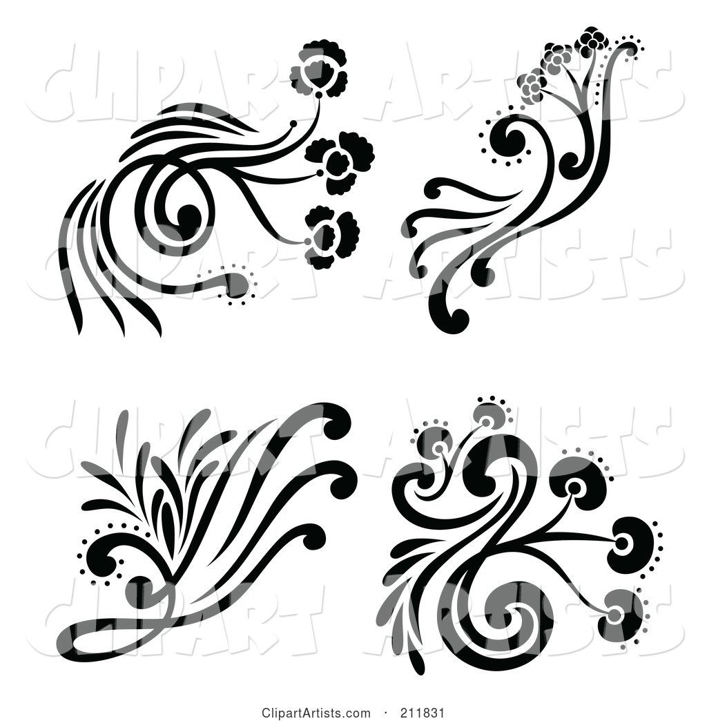 Digital Collage of Four Black and White Decorative Floral Design Elements