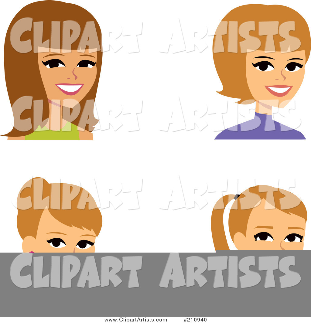 Digital Collage of Four Blond Female Avatars