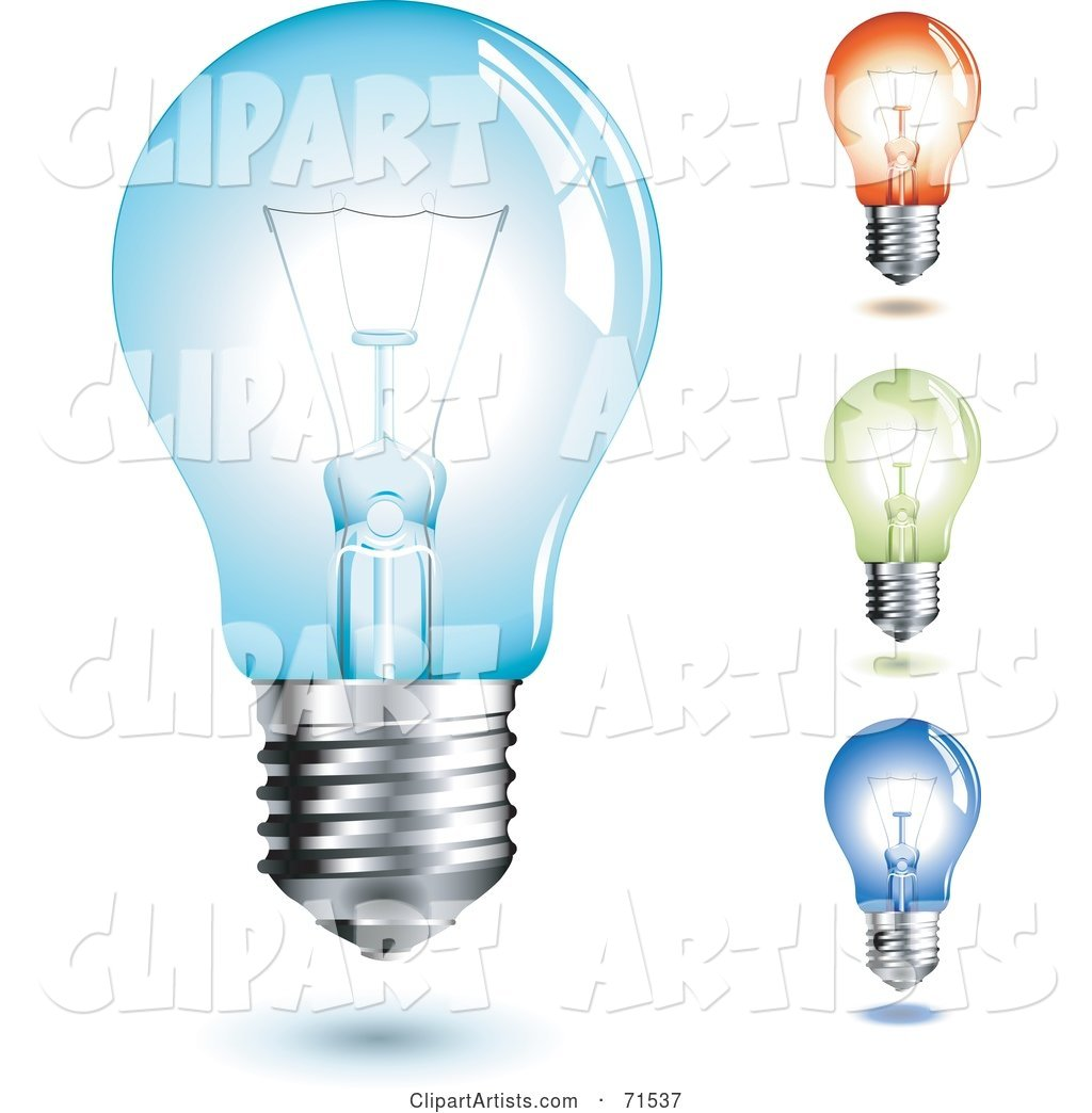 Digital Collage of Four Colorful, Transparent Light Bulbs