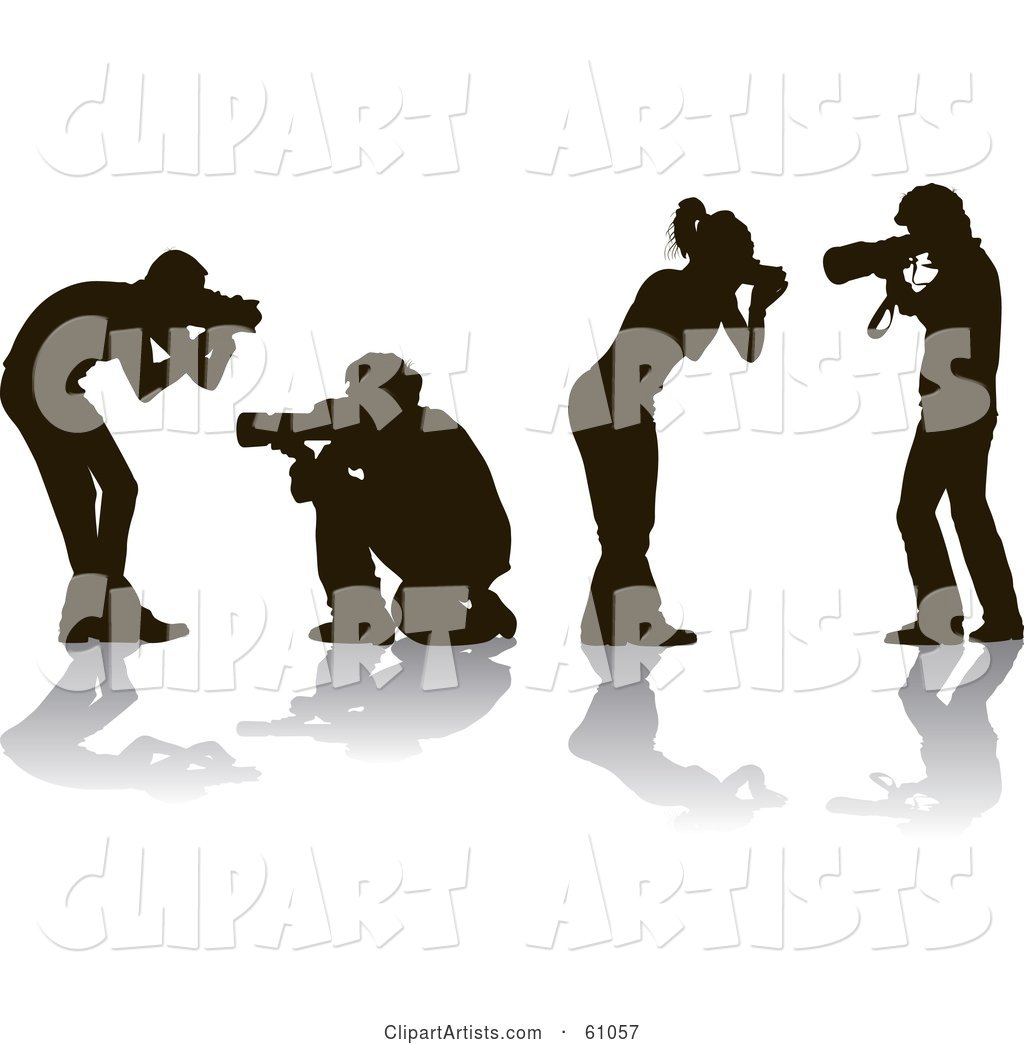 Digital Collage of Four Silhouetted Male and Female Photographers Holding Cameras