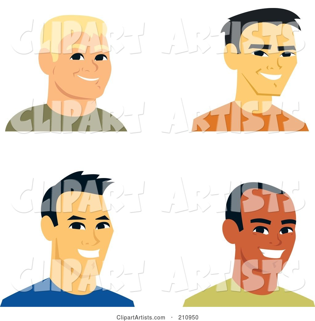 Digital Collage of Four Smiling Male Avatars - 2