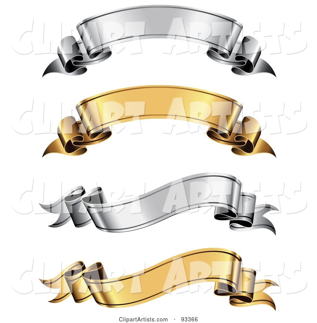 Digital Collage of Gold and Silver Arched and Wavy Ribbon Banners