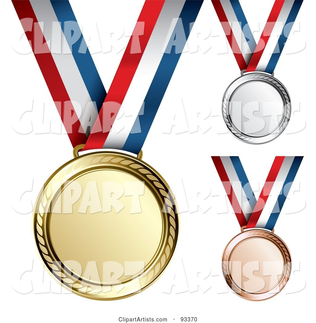 Digital Collage of Gold, Bronze and Silver Medal Award on a Red, White and Blue Ribbon