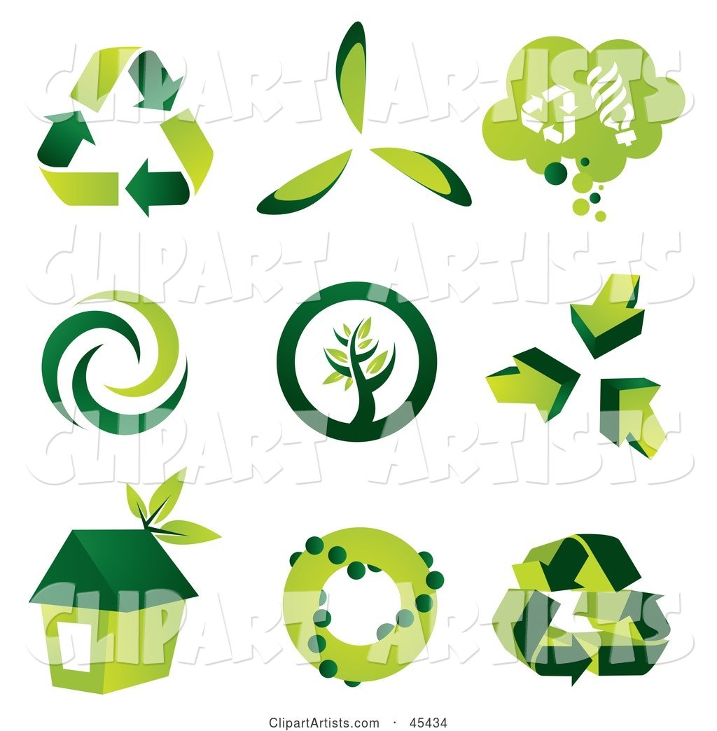 Digital Collage of Green Eco Icons