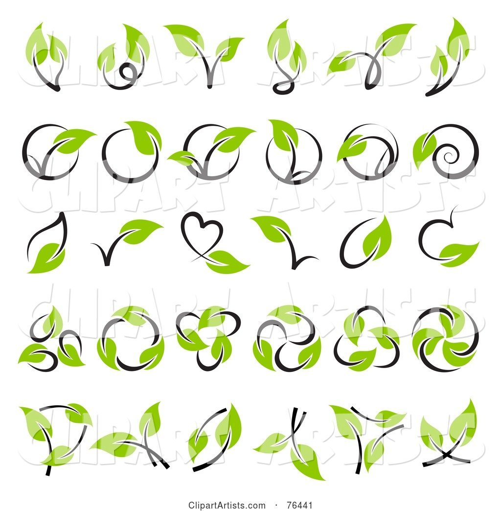 Digital Collage of Green Leaf and Stem Logo Icons