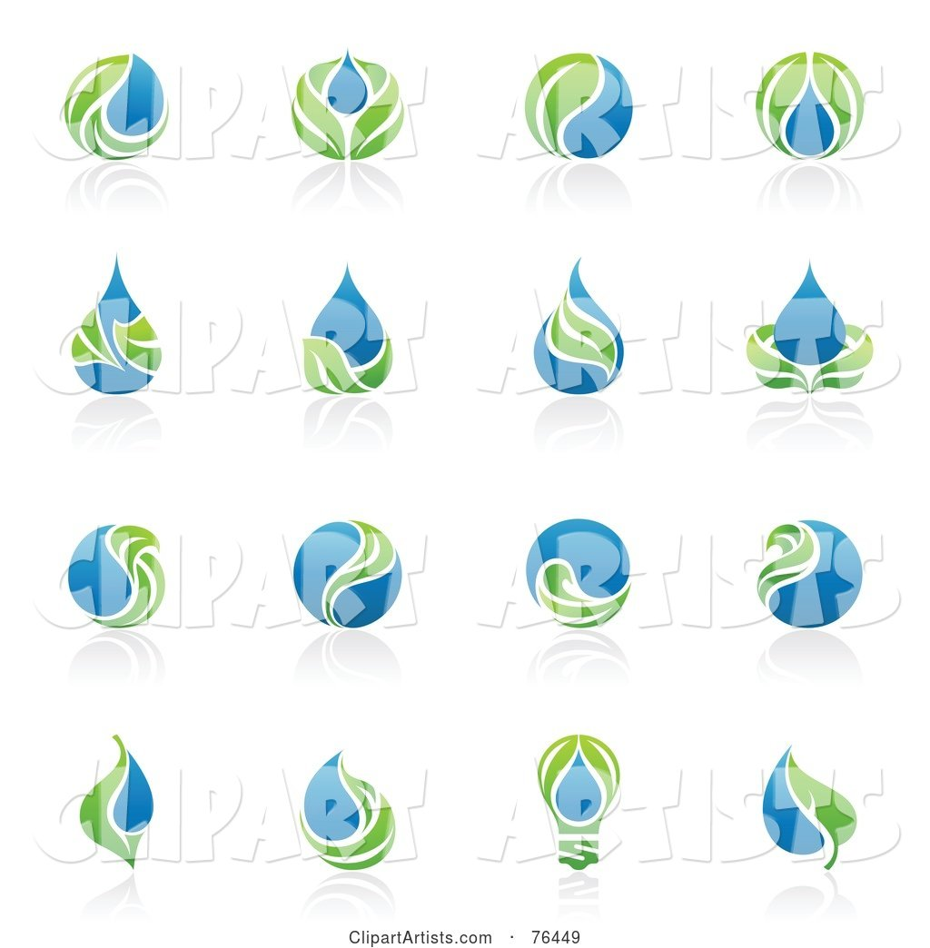 Digital Collage of Green Leaf and Water Droplet Logo Icons