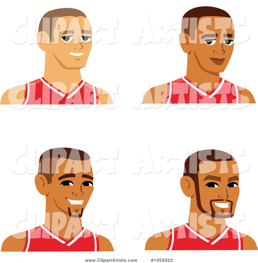 Digital Collage of Male Avatars Wearing Basketball Jerseys