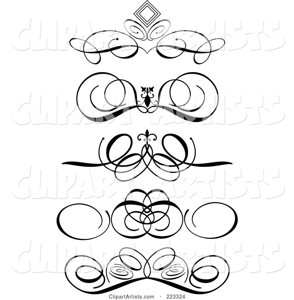 Digital Collage of Ornamental Black and White Scroll Designs, on a White Background
