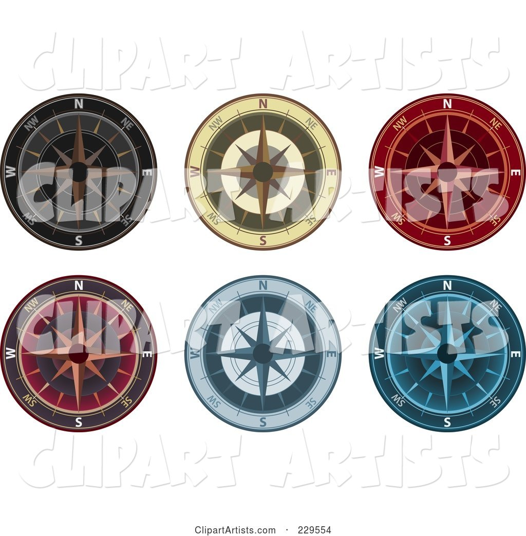 Digital Collage of Ornate Compasses