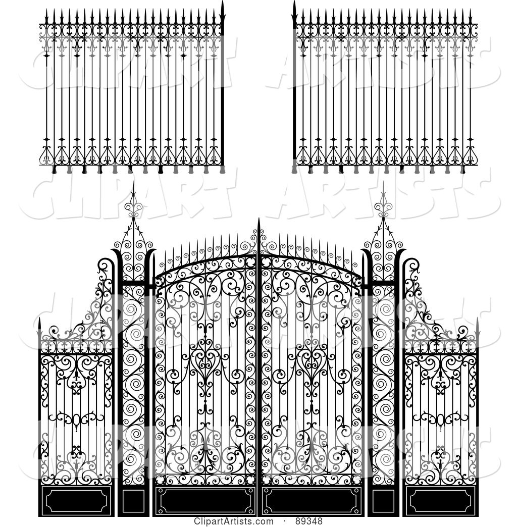 Digital Collage of Ornate Wrought Iron Fencing - Version 1