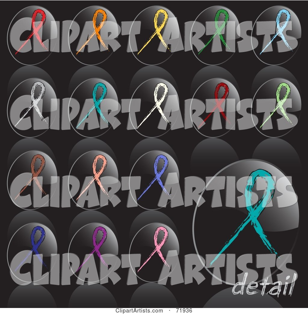 Digital Collage of Oval Shaped Shiny Black Awareness Ribbon Icon Buttons