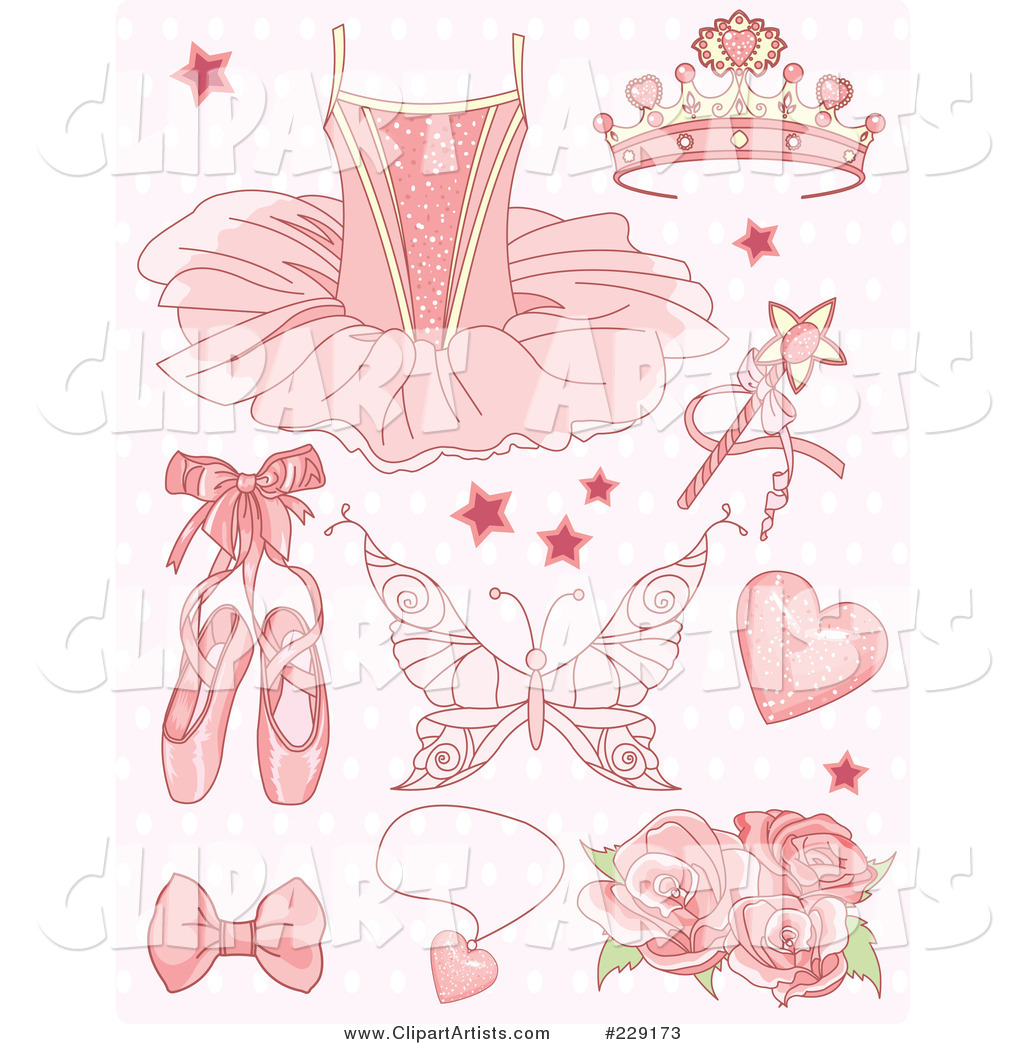 Digital Collage of Pink Princess and Ballet Icons on a Patterned Background