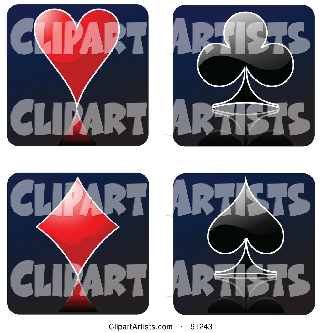 Digital Collage of Red and Black Playing Card Heart, Club, Diamond and Spade Suit Symbols