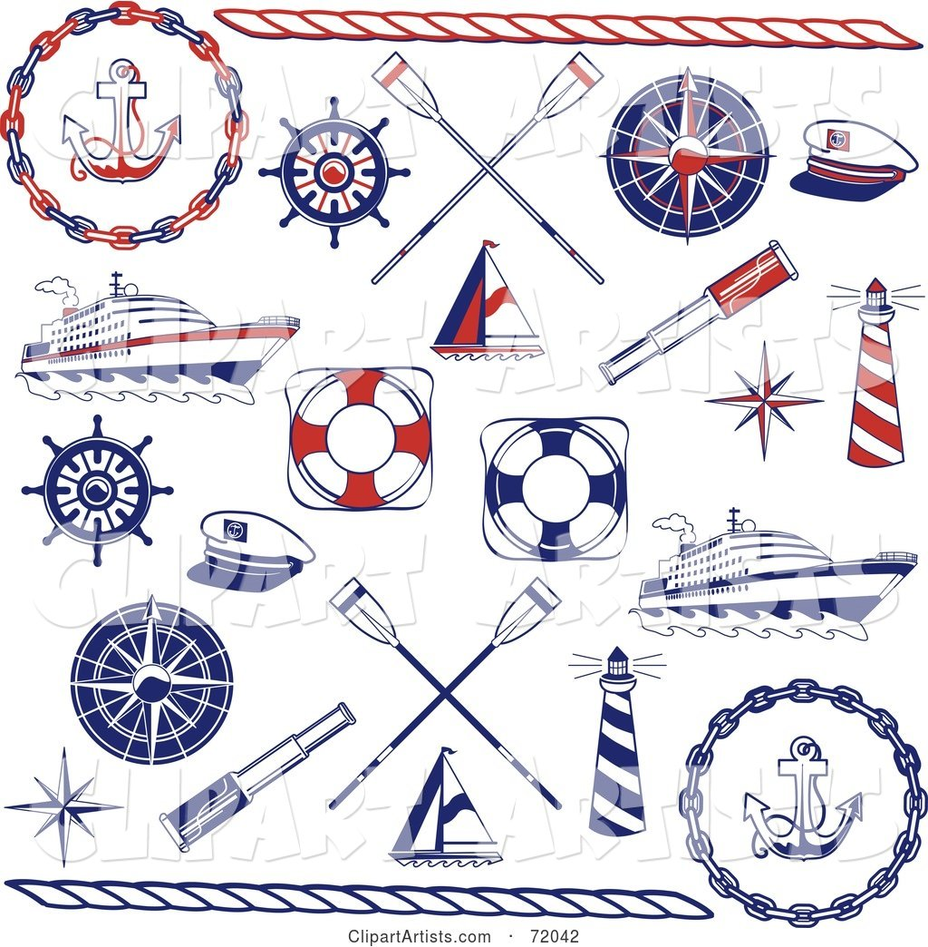 Digital Collage of Red and Blue Nautical Icons