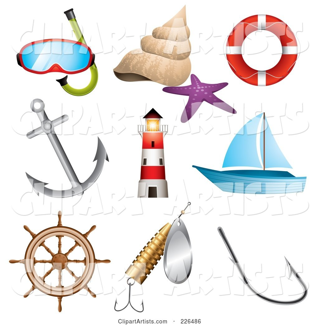 Digital Collage of Sea and Nautical Icons