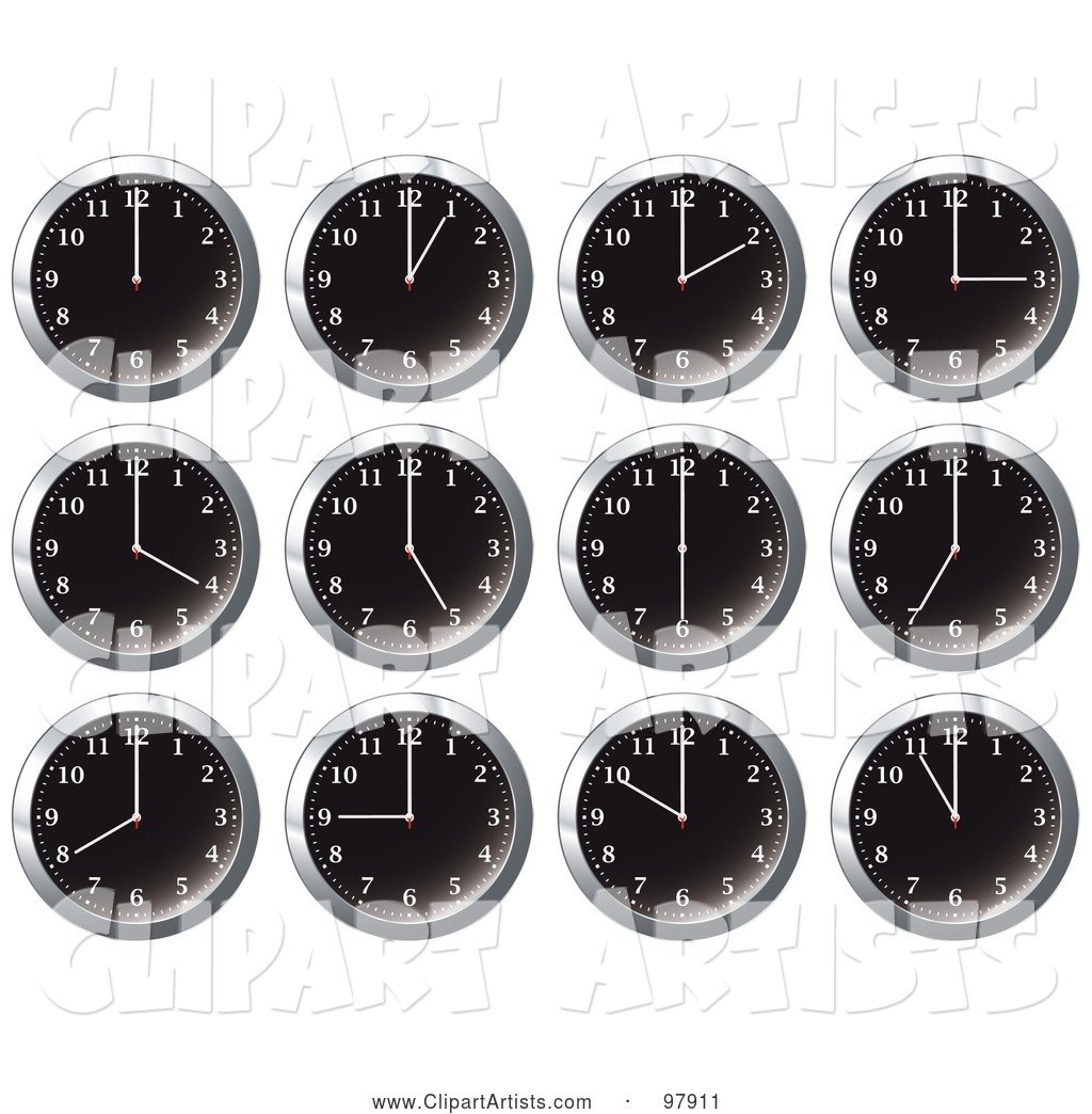 Digital Collage of Shiny Black Office Wall Clocks at Different Times