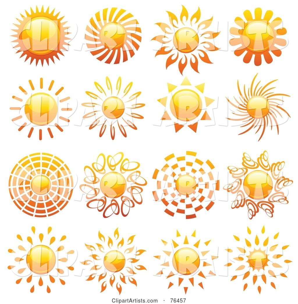 Digital Collage of Shiny Summer Sun Logo Icons