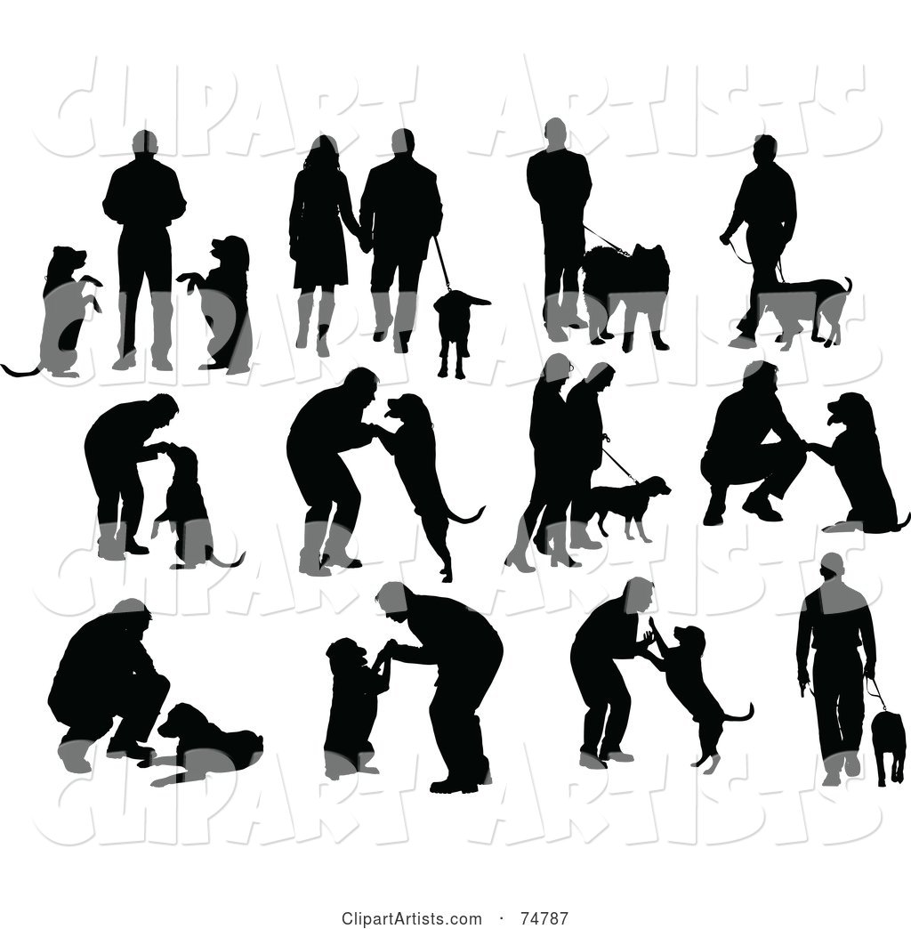 Digital Collage of Silhouetted People and Dogs