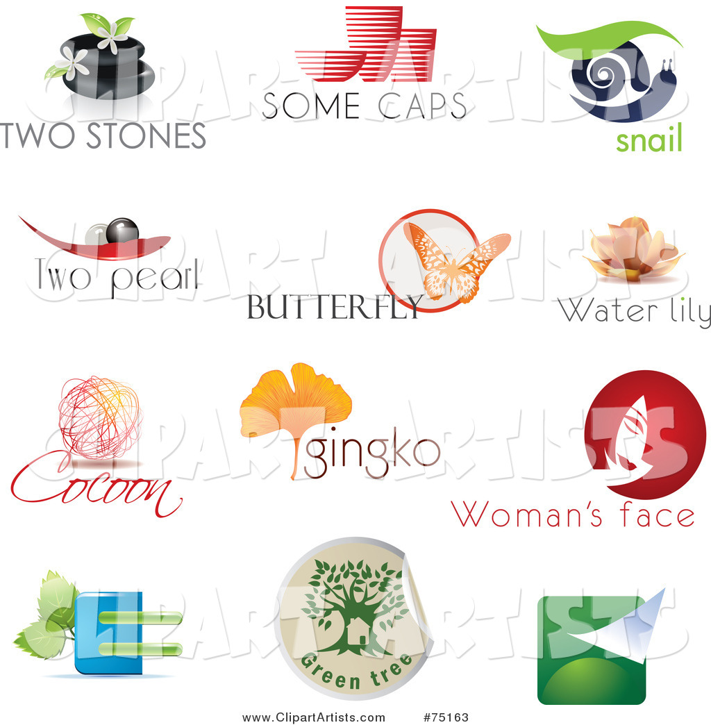Digital Collage of Spa, Pottery, Snail, Pearl, Butterfly, Lotus, Cocoon, Ginkgo, Beauty and Eco Logo Icons