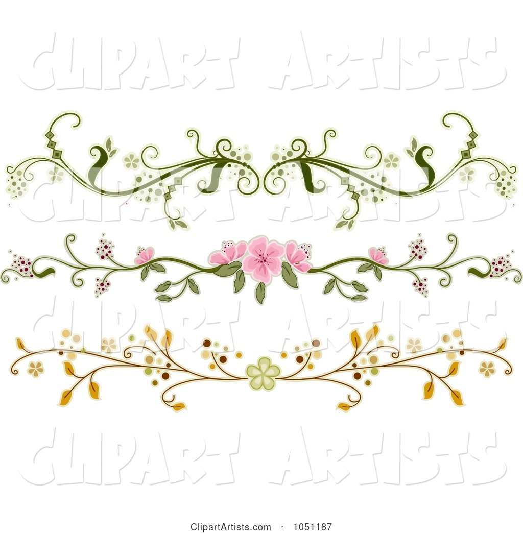 Digital Collage of Three Ornate Floral Rule Dividers